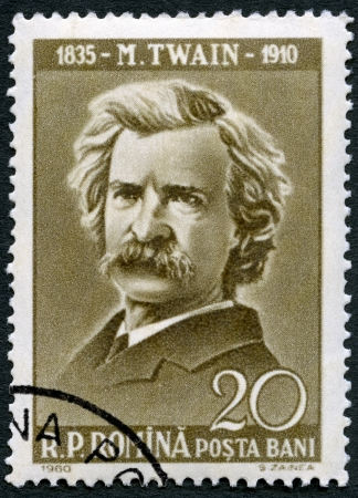 postmail: ROMANIA - CIRCA 1960: A stamp printed in Romania shows Mark Twain (1835-1910), circa 1960