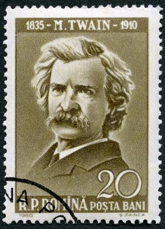 RUMÄNIEN - CIRCA 1960: Eine Briefmarke gedruckt in Rumänien zeigt Mark Twain (1835-1910), circa 1960