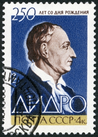 USSR - CIRCA 1963: A stamp printed in USSR shows Denis Diderot (1713-1784), French philosopher and encyclopedist, circa 1963 Stock Photo - 18978643