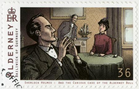 sherlock holmes: ALDERNEY - CIRCA 2009: A stamp printed in Alderney shows Sherlock Holmes, circa 2009 Editorial