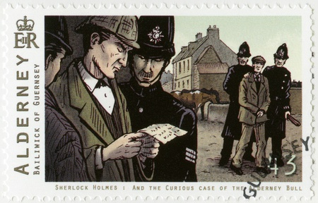 sleuth: ALDERNEY - CIRCA 2009: A stamp printed in Alderney shows Sherlock Holmes, circa 2009 Editorial