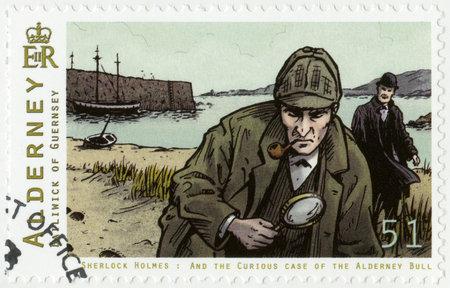 ALDERNEY - CIRCA 2009: A stamp printed in Alderney shows Sherlock Holmes, circa 2009 Editorial