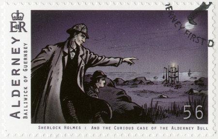 arthur: ALDERNEY - CIRCA 2009: A stamp printed in Alderney shows Sherlock Holmes, circa 2009 Editorial