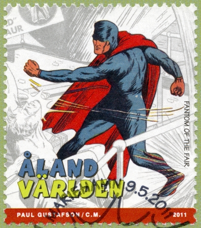 ALAND ISLANDS - CIRCA 2011: A stamp printed in Aland Islands shows Fantom of the Fair, series Superheroes with Aland root, circa 2011