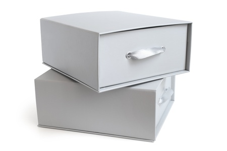 Grey boxes on a white background photo