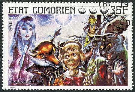 collodi: COMORES - CIRCA 1976: A stamp printed in Comores shows Pinocchio, series Fairy Tales, circa 1976 Editorial