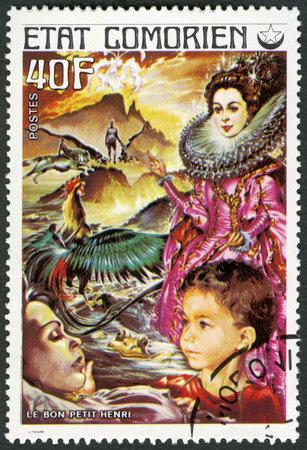 comores: COMORES - CIRCA 1976: A stamp printed in Comores shows Good Little Henry, series Fairy Tales, circa 1976