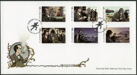 holmes: ALDERNEY - CIRCA 2009: A stamp printed in Alderney shows Sherlock Holmes, circa 2009 Editorial