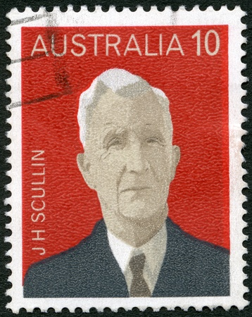 prime adult: AUSTRALIA - CIRCA 1975: A stamp printed in Australia shows James Henry Scullin (1876-1953), series Australian Prime Ministers, circa 1975