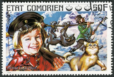 comores: COMORES - CIRCA 1976: A stamp printed in Comores shows Peter and the Wolf, series Fairy Tales, circa 1976 Editorial