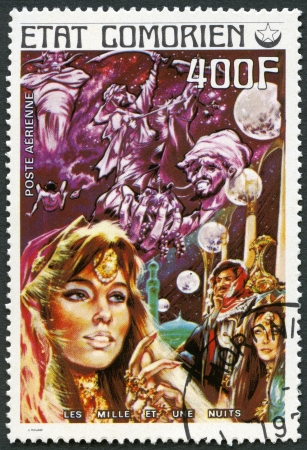 comores: COMORES - CIRCA 1976: A stamp printed in Comores shows Thousand and One Nights, series Fairy Tales, circa 1976