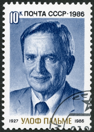 USSR - CIRCA 1986: A stamp printed in USSR shows Sven Olof Joachim Palme (1927-1986), Prime Minister of Sweden, circa 1986 Stock Photo - 19309612