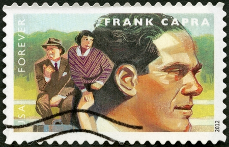 UNITED STATES - CIRCA 2012: A stamp printed in USA shows portrait of Frank Capra (1897-1991), scene from It Happened One Night, circa 2012