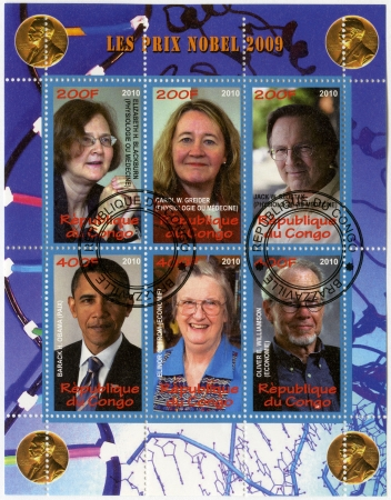 nobel: CONGO - CIRCA 2010: A stamp printed in Congo shows Nobel Prize winners, circa 2010