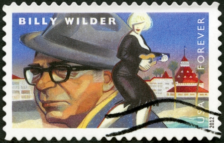 UNITED STATES - CIRCA 2012: A stamp printed in USA shows portrait of Billy Wilder (1906-2002), scene from Some Like It Hot, circa 2012
