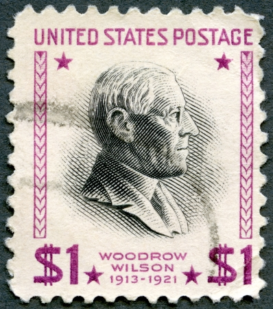 united states postal service: UNITED STATES OF AMERICA - CIRCA 1938: A stamp printed in USA shows Woodrow Wilson (1856-1924), 28th President of USA 1913-1921, circa 1938