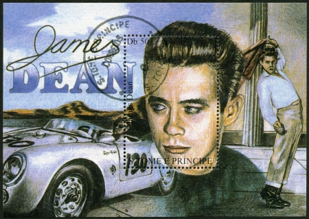 ST. THOMAS AND PRINCE ISLANDS - CIRCA 1994: A stamp printed in St.Thomas and Prince Islands shows James Dean (1931-1955), circa 1994
