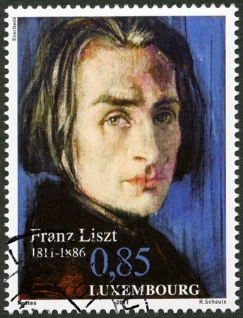 liszt: LUXEMBOURG - CIRCA 2011: A stamp printed in Luxembourg shows Franz Liszt (1811-1886), 200th Anniversary Birth, circa 2011 Editorial