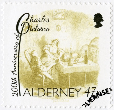novelist: ALDERNEY - CIRCA 2012: A stamp printed in Alderney shows illustrations from Oliver Twist by George Cruikshank (1792-1878), 200th anniversary of Charles Dickens(1812-1870), circa 2012