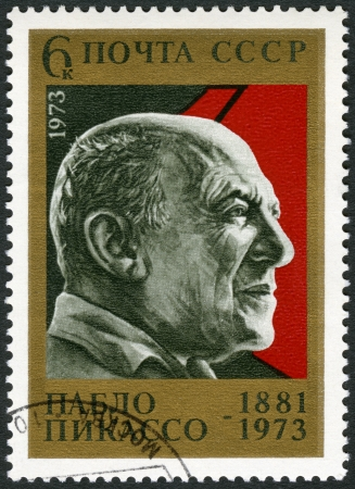 ceramicist: USSR - CIRCA 1973: A stamp printed in USSR shows  Pablo Picasso (1881-1973), Painter, circa 1973 Editorial