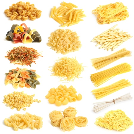 penne: Pasta collection on a white background