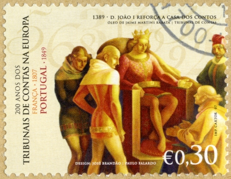 john: PORTUGAL - CIRCA 2007: A stamp printed in Portugal shows King John I Reinforces the Audit Office, by Jaime Martins Barata, series Audit Offices in Europe, Bicentennial, circa 2007 Editorial