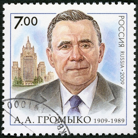 minister of war: RUSSIA - CIRCA 2009: A stamp printed in Russia shows The 100th anniversary of birth A.A.Gromyko (1909-1989), the statesman, the diplomat, circa 2009 Editorial