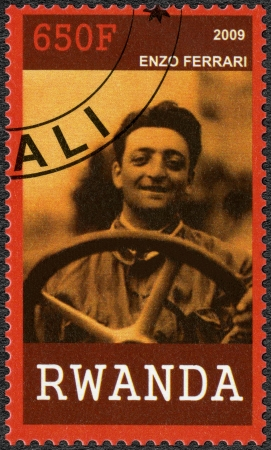 RWANDA - CIRCA 2009: A stamp printed in Republic of Rwanda shows portrait of Enzo Ferrari (1898-1988), circa 2009