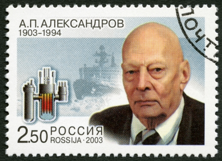 petrovich: RUSSIA - CIRCA 2003: A stamp printed in Russia dedicated the 100th birth anniversary of A.P.Alexandrov (1903-1994), a scientist, circa 2003 Editorial