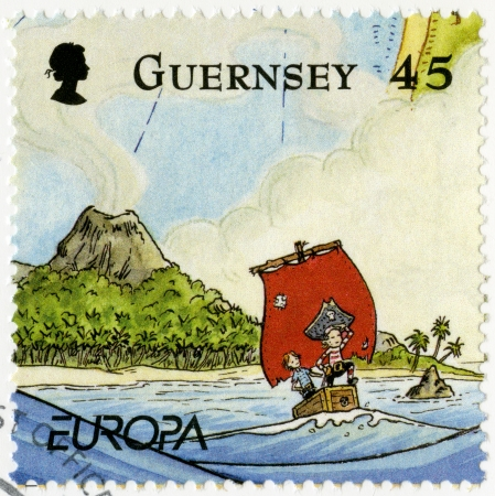 embark: GUERNSEY - CIRCA 2010: A stamp printed in Guernsey shows illustration the adventures of Penny the Postie,by Keith Robinson, circa 2010