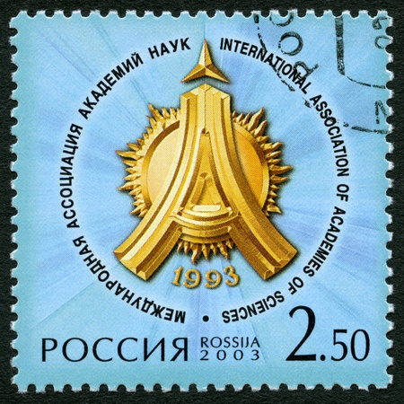 RUSSIA - CIRCA 2003: A stamp printed in Russia dedicated the 10th anniversary of the International Association of Academies of Sciences, circa 2003