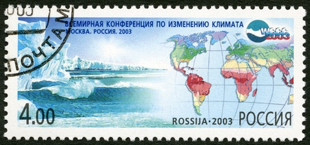 fluctuation: RUSSIA - CIRCA 2003: A stamp printed in Russia dedicated the world conference on climate fluctuation, circa 2003 Editorial
