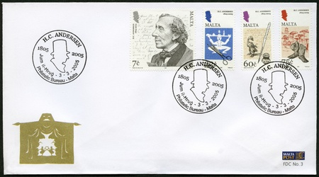 MALTA - CIRCA 2005: A stamp printed in Malta shows Hans Christian Andersen (1805–1875), a writer, circa 2005