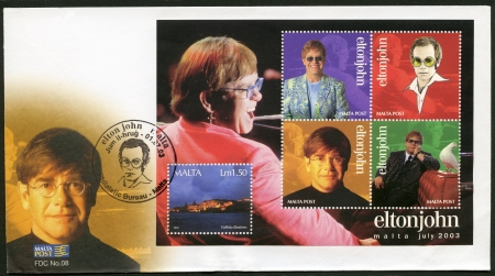 MALTA - CIRCA 2003: A stamp printed in Malta shows Elton John Hercules, Reginald Kenneth Dwight, a singer, circa 2003