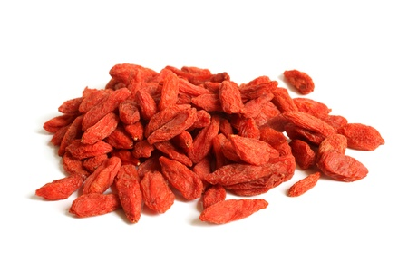 Red dried goji berries (Lycium Barbarum - Wolfberry) on a white background