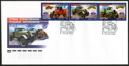motorcar: RUSSIA - CIRCA 2007: A stamp printed in Russia  dedicated the history of Russian motor-cars, the first native trucks, circa 2007