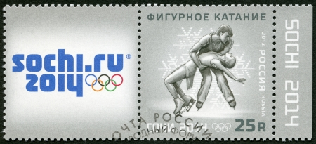 olympic symbol: RUSSIA - CIRCA 2013: A stamp printed in Russia shows XXII Olympic Winter Games in Sochi 2014, Olympic winter Sports, figure skating, circa 2013