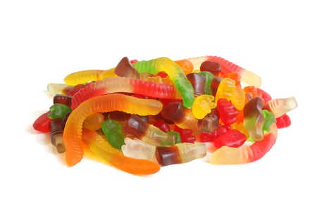 Colorful jelly candy on white background photo