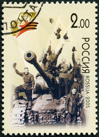 RUSSIA - CIRCA 2005: A stamp printed in Russia shows Victory May 9, 1945, Berlin (triumphant soldiers on a tank), 60th anniversary of Victory in the Great Patriotic War of 1941-1945, circa 2005