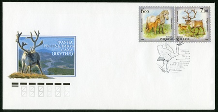 postmail: RUSSIA - CIRCA 2006: A stamp printed in Russia shows Yakut horse, North dear, the fauna of Sakha Republik (Jakutia), circa 2006 Editorial