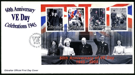 winston: GIBRALTAR - CIRCA 2005 : A stamp printed in Gibraltar shows Sir Winston Spencer Churchill (1874-1965), 60th Anniversary of Victory in Europe Day, circa 2005