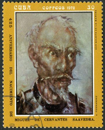 don quixote: CUBA - CIRCA 1972: A stamp printed in CUBA show don quijote de la mancha, dedicated the Miguel de Cervantes Saavedra (1547-1616), Spanish author,circa 1972
