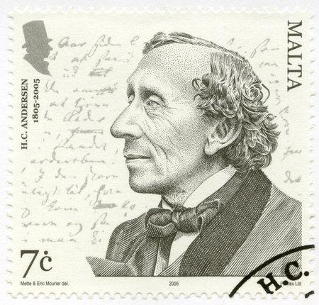 MALTA - CIRCA 2005: A stamp printed in Malta shows Hans Christian Andersen (1805–1875), a writer, circa 2005