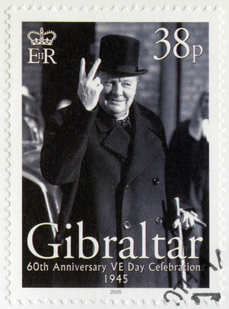 spencer: GIBRALTAR - CIRCA 2005 : A stamp printed in Gibraltar shows Sir Winston Spencer Churchill (1874-1965), 60th Anniversary of Victory in Europe Day, circa 2005