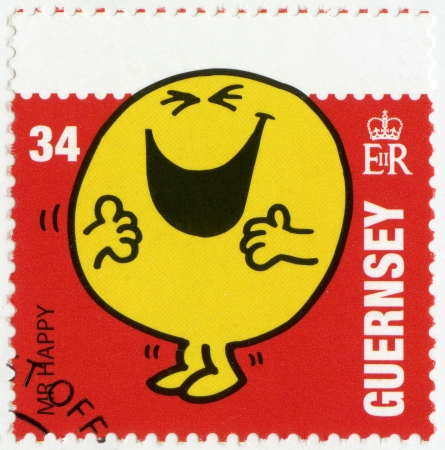 nosey: GUERNSEY - CIRCA 2008: A stamp printed in Guernsey shows mr happy, illustration Mr Men & Little Miss, circa 2008