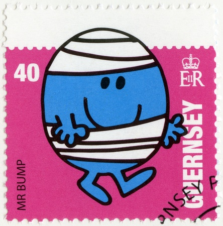 mr: GUERNSEY - CIRCA 2008: A stamp printed in Guernsey shows mr bump, illustration Mr Men & Little Miss, circa 2008
