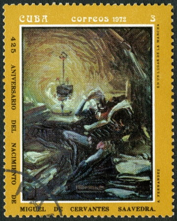 don quixote: CUBA - CIRCA 1972: A stamp printed in CUBA show en unlugar de la mancha, dedicated the Miguel de Cervantes Saavedra (1547-1616), Spanish author,circa 1972