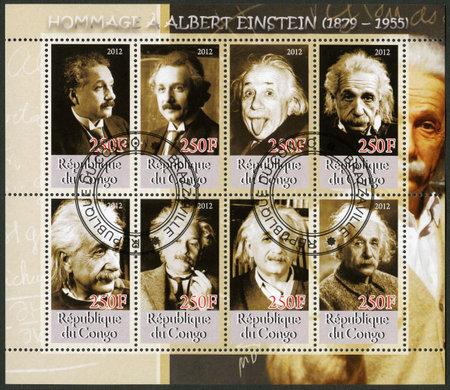 mathematician: CONGO - CIRCA 2012: A stamp printed in Congo shows Albert Einstein (1879-1955), circa 2012