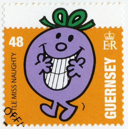 nosey: GUERNSEY - CIRCA 2008: A stamp printed in Guernsey shows little miss naughty, illustration Mr Men & Little Miss, circa 2008 Editorial