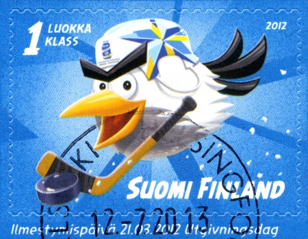 FINLAND - CIRCA 2012: A stamp printed in Finland shows 2012 IIHF Ice Hockey WC world championship, circa 2012